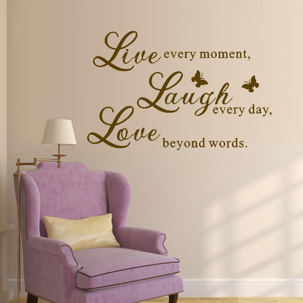 Beautiful Butterfly Wall Decal Sticker Wallpaper Removable Motivational Wall Quotes Lettering For Bedroom Living Room Nursery Live Every Moment Laugh Every Day Love Beyond Words£¨Medium,Black£