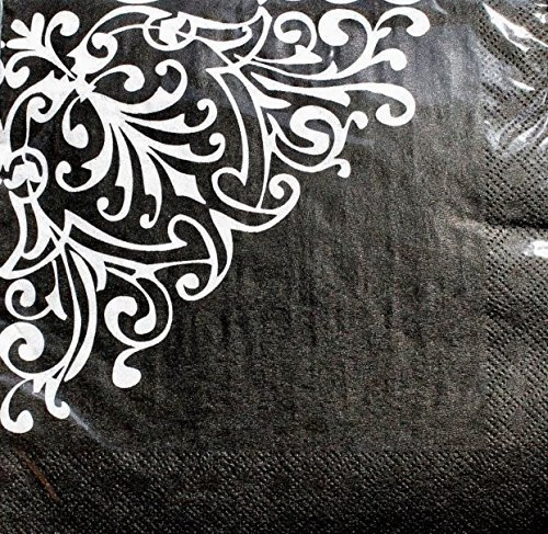 - Party! Luncheon Napkins ~ Damask White on Black Set of 20