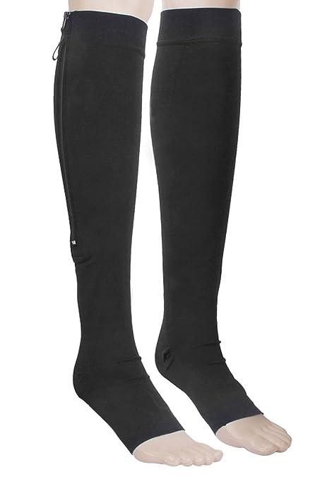 Calcetines de compresion - SODIAL(R)1 par de calcetines hasta la rodilla de