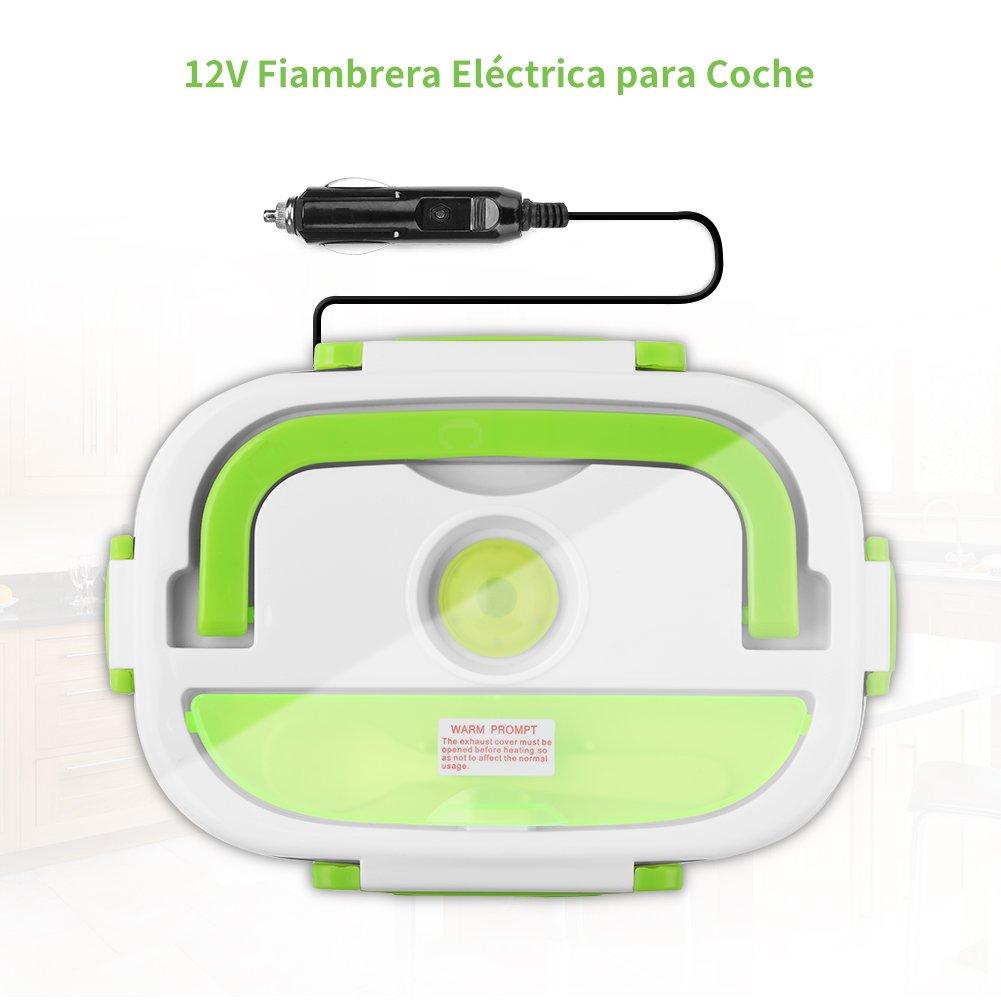 YISSVIC Fiambrera Electrica para Coche Termo Comida 40W 12V con Dos Compartimentos y Cuchara Bandeja Extraíble de Acero Inoxidable Portátil 1.05L: ...