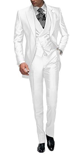 Suit Me Tailored Hombre 3 Piezas Traje para Boda Fiesta Smoking Traje Chaqueta, Chaleco, Pantalones Blanco 6X-Large