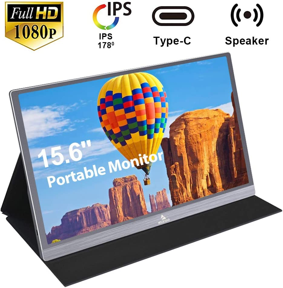 2020 Portable Monitor - NexiGo Premium 15.6 Inch Full HD 1080P IPS USB Type-C Computer Display, Eye Care Screen with HDMI/USB-C for Laptop PC/MAC/Surface/PS4/Xbox/Switch, Included Black Smart Cover