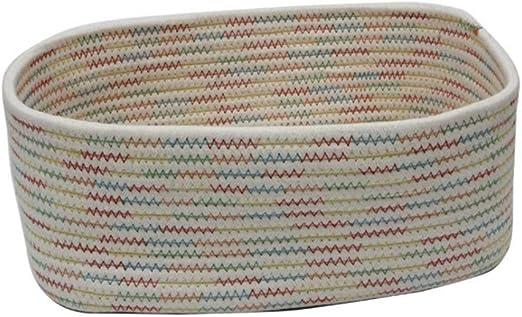 DAYOLY - Cesta de almacenaje tejida a mano de algodón, con ...