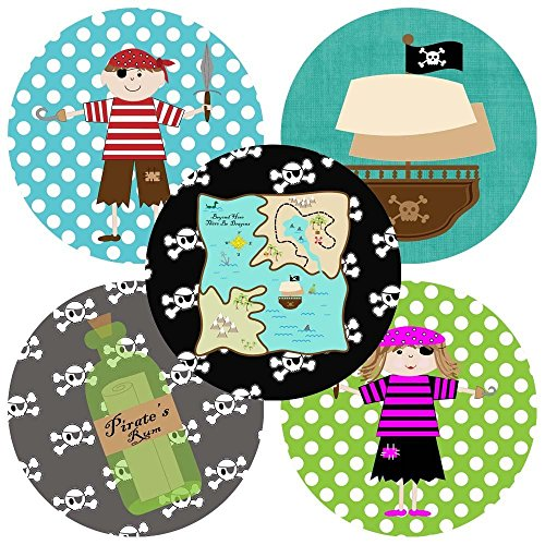 [Pirate Sticker Labels for Kids - Boy Girl Birthday Baby Shower Party Favor Labels - Set of 50] (Parrot Costume Female)