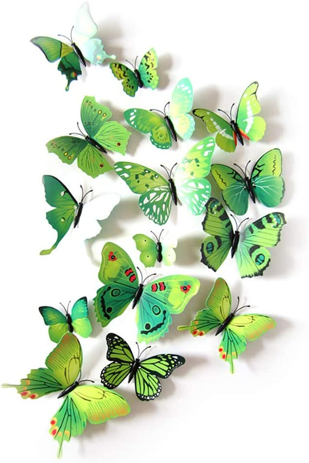 12 Pcs Colorful Butterfly 3D Wall Stickers DIY Art Decor Crafts Room Decoration (Green)
