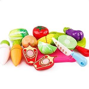 JUNGEN Jeu D'imitation Coupe Fruits Légumes Jeu enfants Kid Jouet éducatif a Decouper de Cuisine Pizza a Decouper pour les Enfant Bébés a la Maternelle école