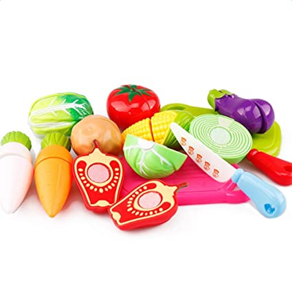 JUNGEN 13 PCS Corte de juguetes de frutas y hortalizas de plástico juguetes de alimentos para