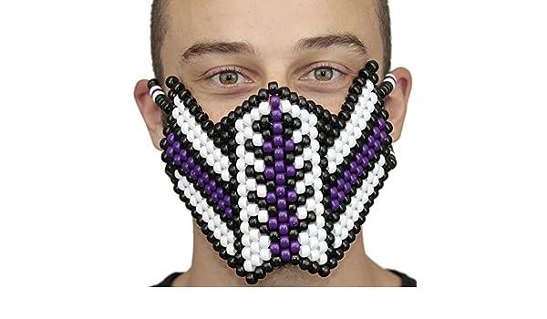 Mascara Kandi de Veneno (Venom) Violeta y Spiderman Blanca por Kandi Gear, mascara de rave, mascara de halloween, mascara de cuentas para festivales de ...