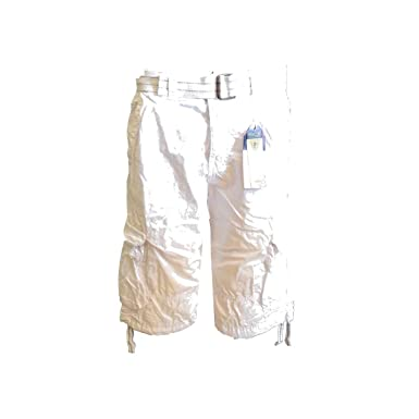 28d0236a4f Men's Cargo Shorts with Belt Focus 32 34 36 38 40 42 44 Casual Short White