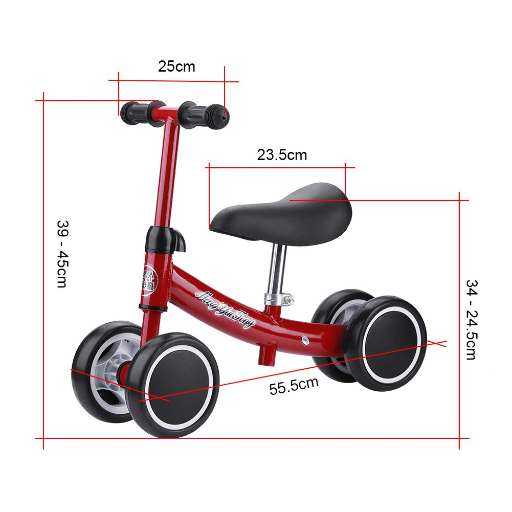 Zerone Entrenamiento del Equilibrio Mini Bicicleta de Bebé sin Pedales , para Niño 1-2 Años Andador de Cuatro Ruedas (Rojo)
