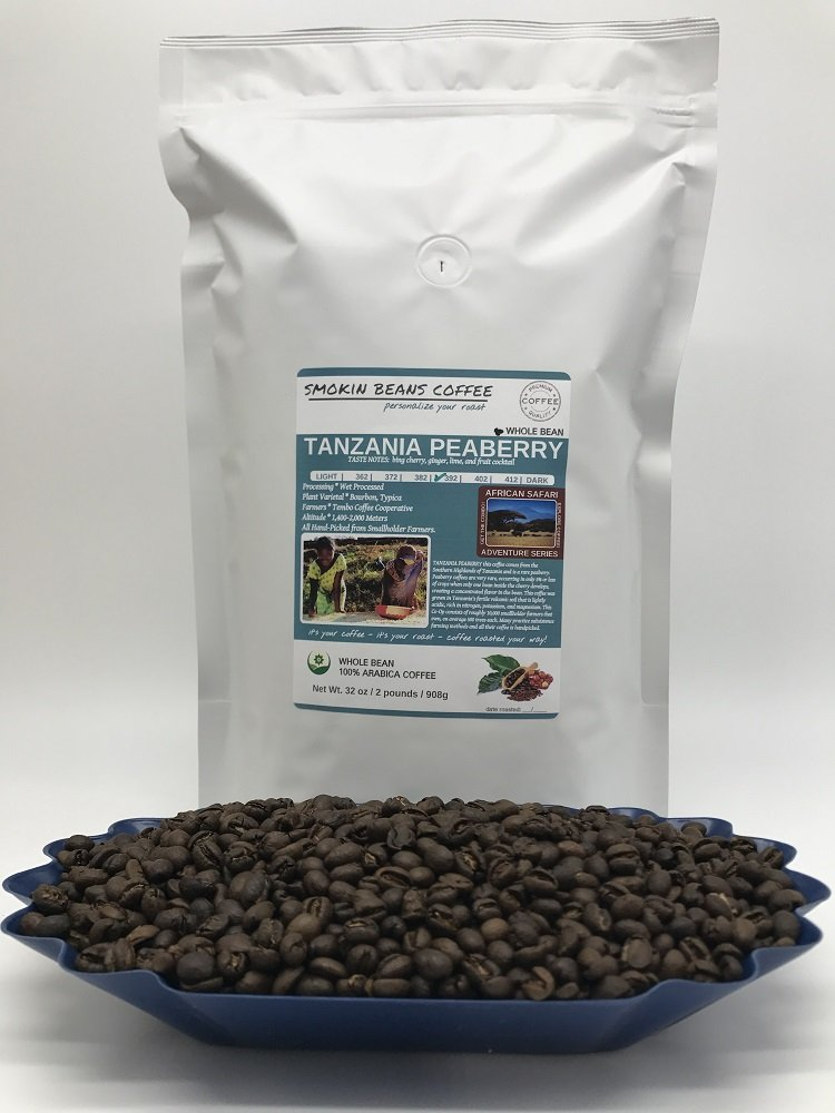 2-LBS SUPER FRESH ROASTED – TANZANIA PEABERRY COFFEE (in a FREE BURLAP BAG) – Order Today/ROASTED TODAY – Beautiful Medium/Dark, Whole Bean – SUPER SWEET – a Perfectly Developed Roast – BEST TASTES by Smokin Beans (Image #2)