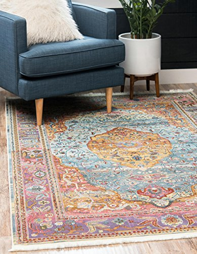 "Unique Loom Baracoa Collection Bright Tones Vintage Traditional Light Blue Area Rug (4' x 6') - Made in Turkey, this Unique Loom Baracoa Collection rug is made of Polypropylene. This rug is easy-to-clean, stain resistant, and does not shed. Colors found in this rug include: Light Blue, Blue, Gold, Purple, Red, Olive, Yellow. The primary color is Light Blue. This rug is 1/3"" thick. - living-room-soft-furnishings, living-room, area-rugs - 61%2Bk6SMSoPL -"