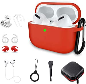 Airpods Pro Case, Alquar 10 in 1 Silicone Apple Airpod Pro Accessories Set, Airpods 3 Charging Case Protective Cover with Ear Hook/Strap/Clips/Watch Band Holder/Brush/Keychain (Red)