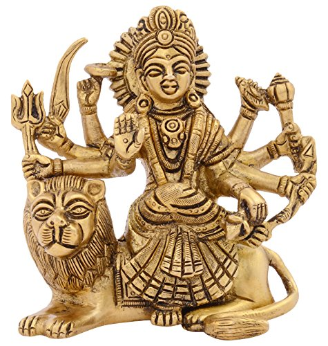 Kapasi Handicrafts Brass Goddess Durga Ma Ambaji Mata Sitting Idol Statues 11 X 6 1 X 11 6 Cm Gold