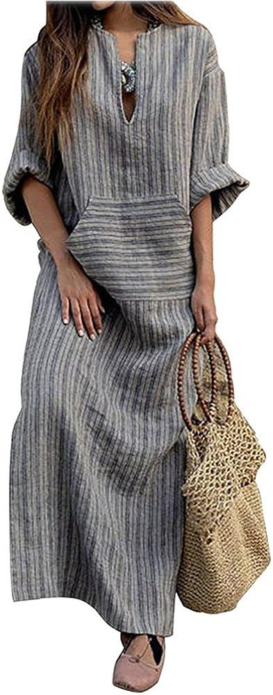 ShallGood Mujer Elegante Talla Grande Vestido Verano Moda Cuello en V Manga Larga Algodón y Lino Larga Vestidos para Fiesta Coctel Playa Maxi Vestir Gris ES 34: Amazon.es: Ropa y accesorios
