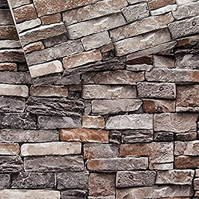 Luropa 3D Stone Brick Wallpaper, Removable Easy Wash for Livingroom and Bedroom Decoration (21x393 inch, Gray)