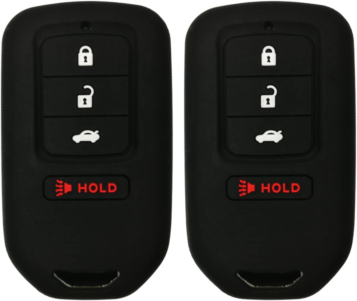 Alegender Qty 4 Buttons Smart Key Fob Remote Covers Case Holder Jacket for 2018 Honda Fit EX Accord Ridgeline HRV Keyless Entry 2