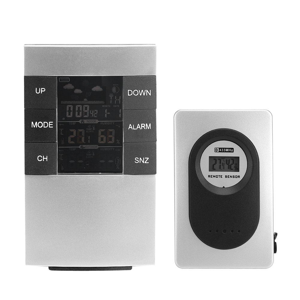 Fdit Wireless Weather Station Indoor Outdoor Digital LCD Temperature Humidity Monitor Forecast Stations with Outdoor Remote Sensor