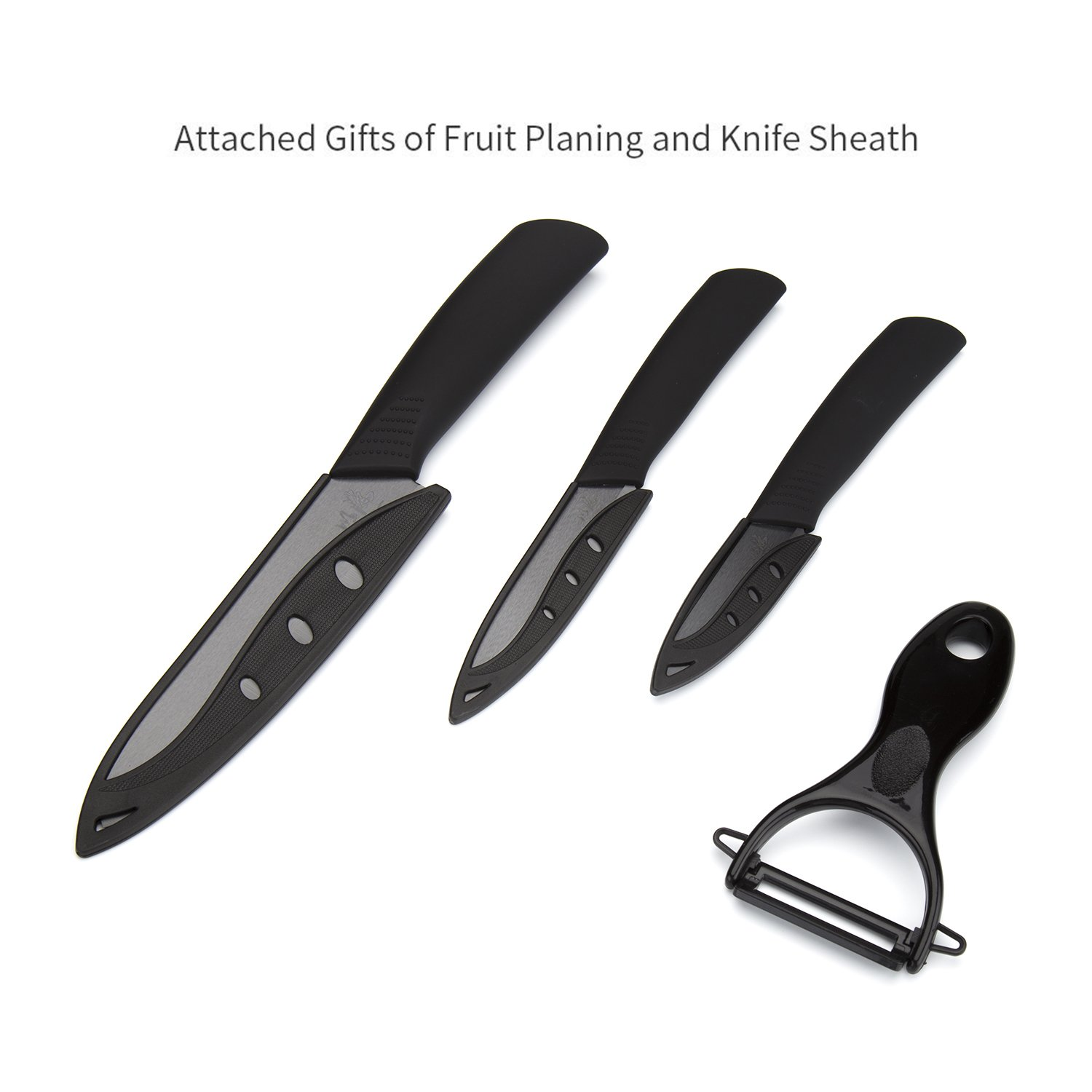 icxox Ceramic Knife Set 6 Inch Chef Knife & 4 Inch Fruit Knife & 3 Inch Paring Knife & Peeler (4 Piece, Black Blade)