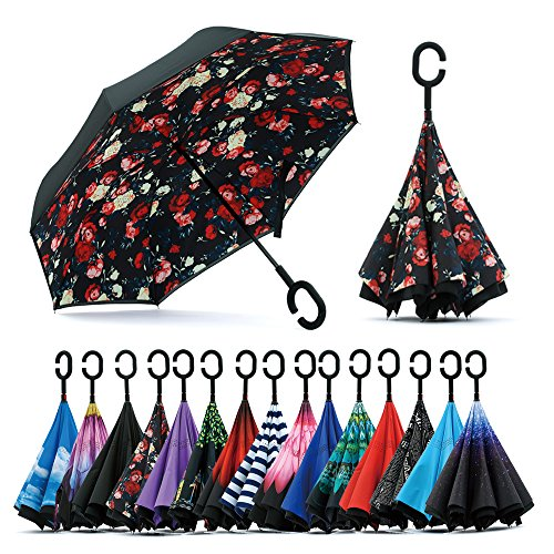 (Spar. Saa Double Layer Inverted Umbrella with C-Shaped Handle, Anti-UV Waterproof Windproof Straight Umbrella for Car Rain Outdoor Use)