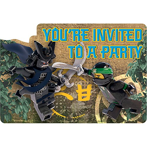 Party Invite (8 Lego Ninjago Movie Birthday Party Invite Invitations Cards plus Envelopes)