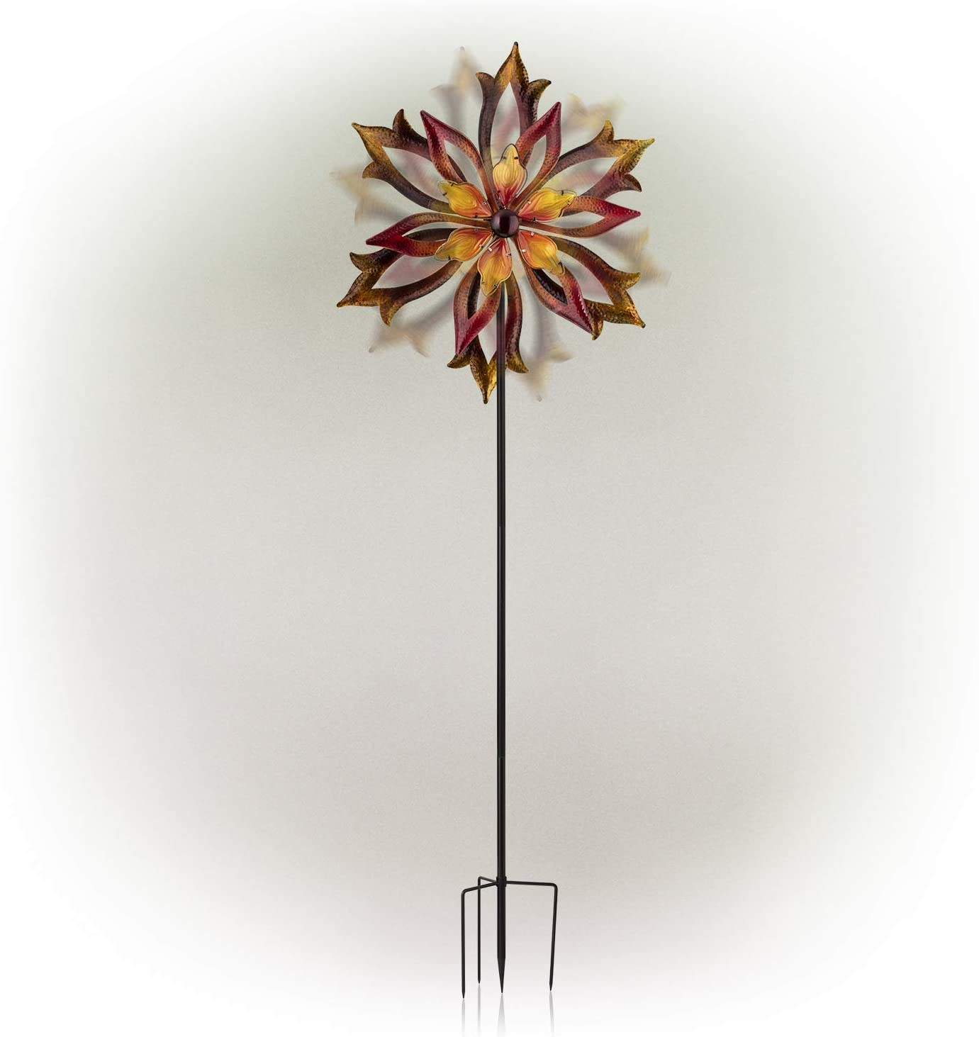 Alpine Corporation KPP426 Double-Sided Flame Windmill Stake-Kinetic Spinner Outdoor Yard Art Decor, 96-Inch, Multicolor