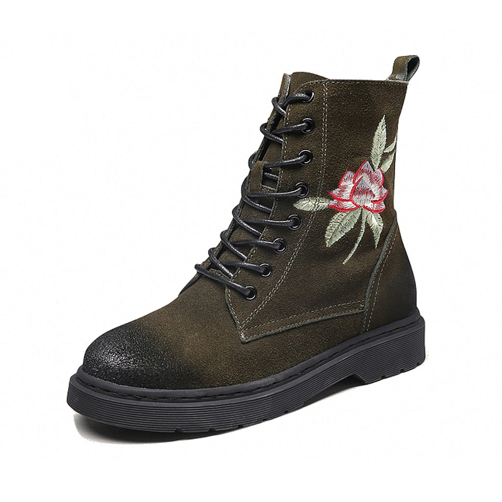 Women's Martin boots autumn and winter personality comfortable fashion shoes ( Color : Green , Size : US:5.5UK:4.5EUR:36 )