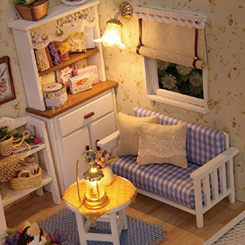 Gbell  Cute Dollhouse Miniature DIY House,3D Paper Dollhouse Model Mini Furniture Kit LED Light Pretend Doll Theater Handmade Assembly Princess Cottage Creative Craft Artwork Best Gift for Girls