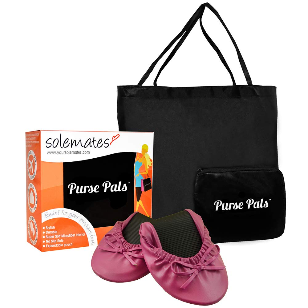 Solemates Purse Pal Foldable Bowed Ballet Flats w/Expandable Tote Bag for Carrying Heels (Medium (7-8.5), Fuschia)