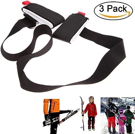 Puerta esquís, bandolera ajustable para Pack esquí, sistema de transporte de esquís, 3 pièce: Amazon.es: Deportes y aire libre