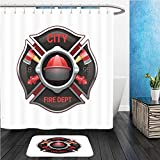 Beshowereb Bath Suit: ShowerCurtian & Doormat city fire department organization realistic logo emblem design with crossed axes and pumps red 519269710