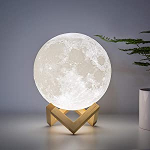 BRIGHTWORLD Moon Lamp Moon Night Light 3D Printed 7.1IN Large Lunar Lamp for Kids Gift for Women USB Rechargeable Touch Contral Brightness Warm and Cool White