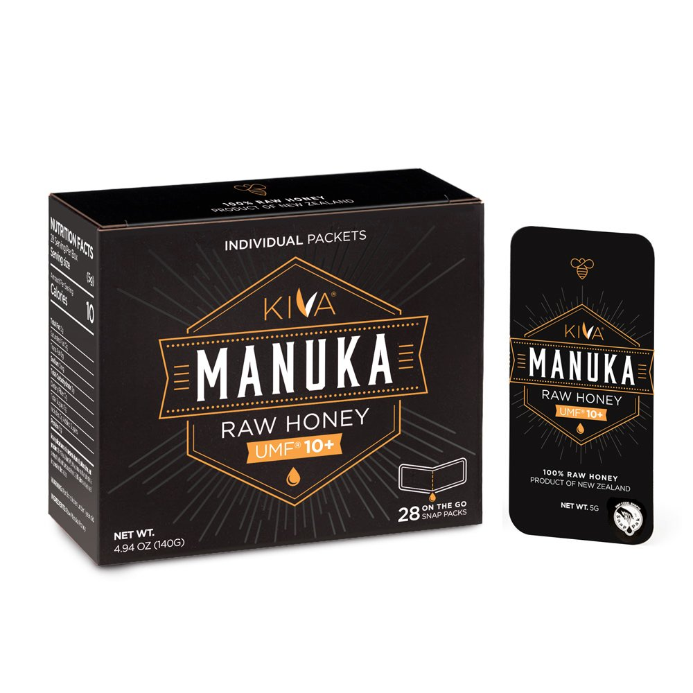 Kiva Certified UMF 10+, Raw Manuka Honey SNAP-PACKETS (28 Count | On-The-Go Packets)