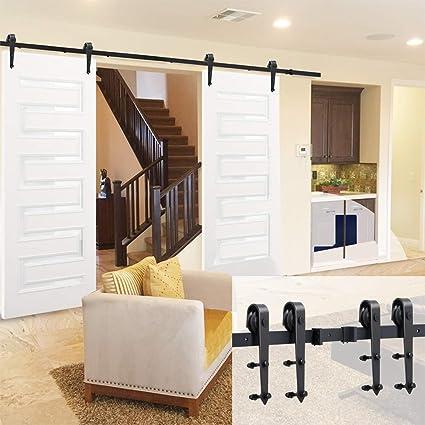 Trend Mark Double Panel Antique Style Steel Sliding Barn Door Closet Hardware Kit Home Improvement Doors