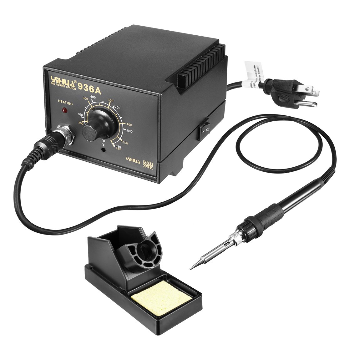 uxcell Model 936A US Plug 60-Watt Soldering Iron Station Kit with Auto Cool Down Function, Ergonomic Soldering Iron, Solder Holder, Soldering Tips, Soldering Wire and Tweezer by uxcell (Image #1)