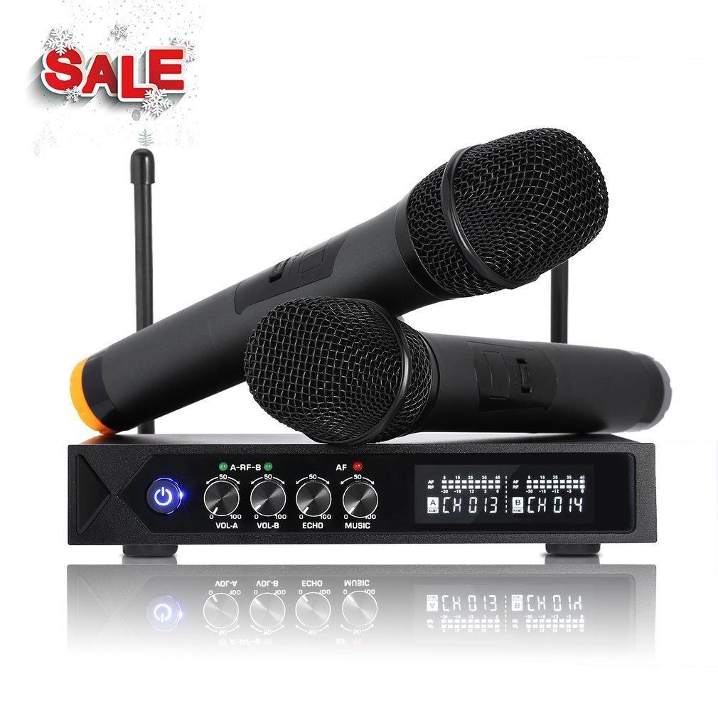 Micrófonos Inalámbricos, Micrófono Profesional Portátil, Receptor de Micrófono Dual con Pantalla LCD para Fiesta de Karaoke, KTV, Lugares de Entretenimiento, Boda y Reunión -un par (Micrófonos Inalámbricos con Bluetooth) LESHP S9