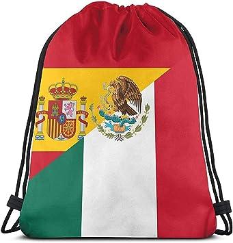Bolso con cordón Unisex Bandera de España y México Mochila ...