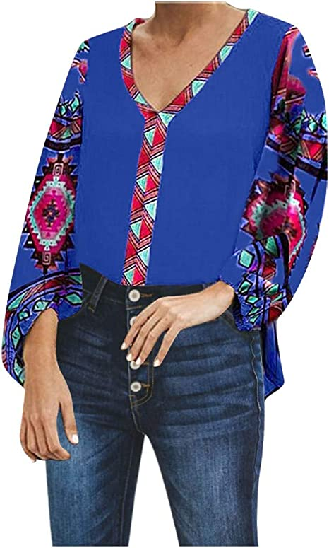 TOPKEAL Blusa Mujeres Boho Plus Size Casual Retro Print ...