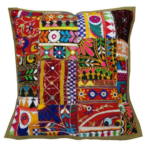 Cojín decorativo tradicional Kutch Bordado Decoración Funda de almohada del algodón del remiendo Throw India 17 'pulgadas