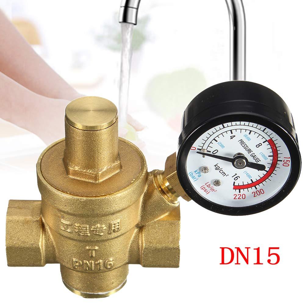 KKmoon DN20 3//4Lat/ón V/álvulas reguladoras de mantenimiento de reducci/ón de presi/ón de agua V/álvulas regulables de alivio con medidor 85 63 mm