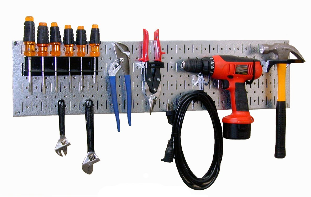 Wall Control 30-WRR-100GVB Galvanized Steel Pegboard Starter Kit by Wall Control (Image #1)