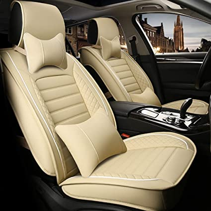 Peachy Amazon Com Tusosnc Seat Covers For Cars Full Leather Car Theyellowbook Wood Chair Design Ideas Theyellowbookinfo