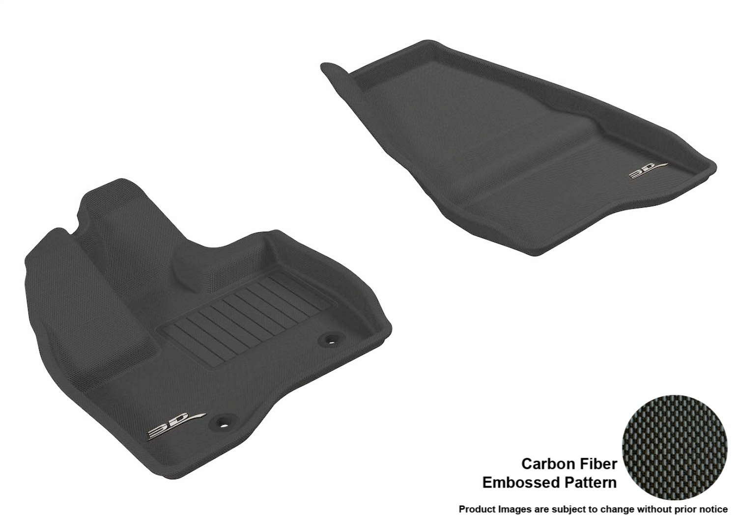 3D MAXpider Front Row Custom Fit All-Weather Floor Mat for Select Ford Explorer Models Black Kagu Rubber L1FR03611509