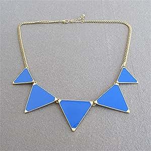 Gabion(TM) Gold Chain Women Triangle Punk Collar Sweater Chain Short Choker Necklaces Ladies Jewelry [Blue]