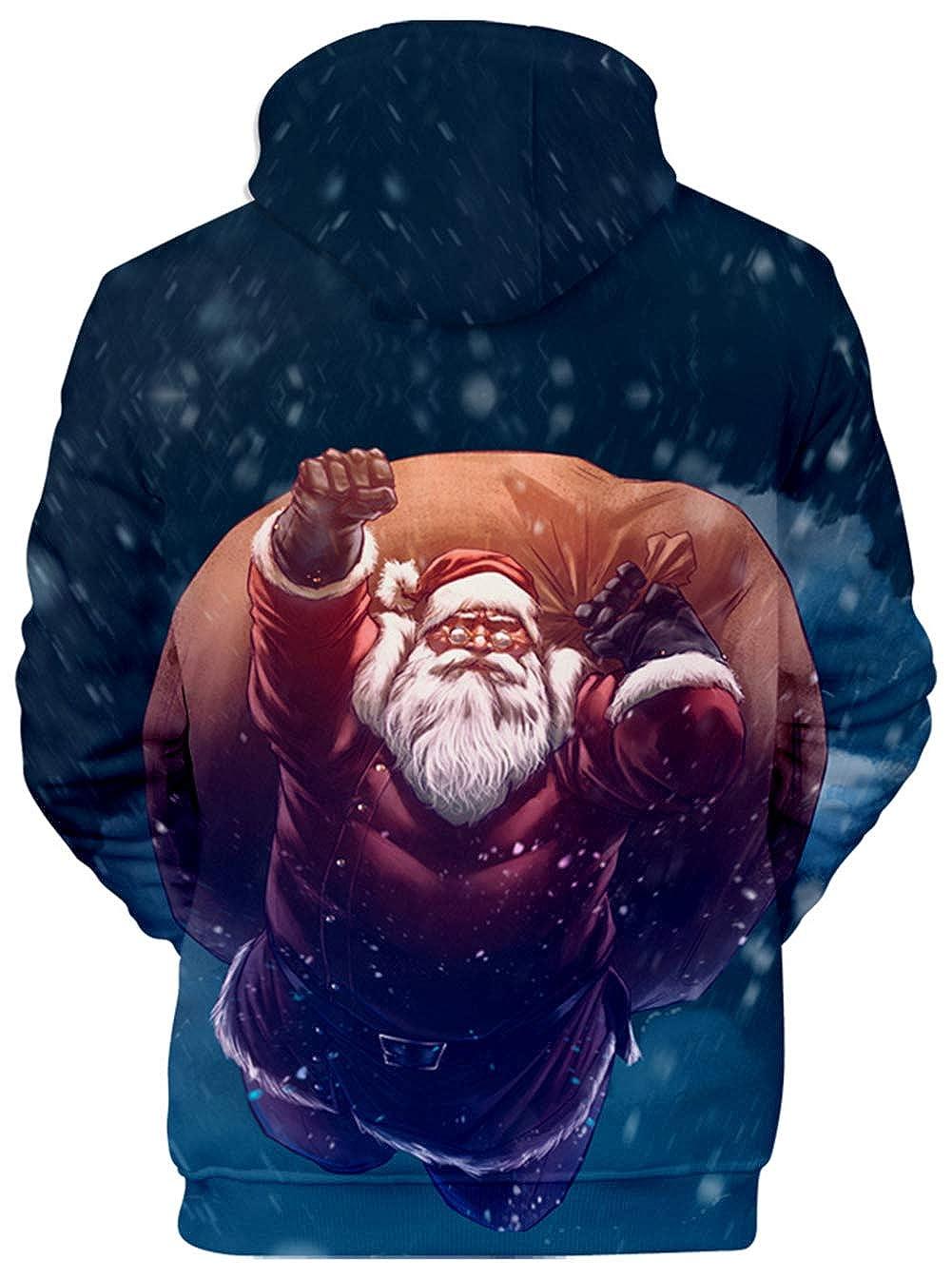 JOAYIN Unisex Natale Maglioni di Felpa con Cappuccio 3D Maglione