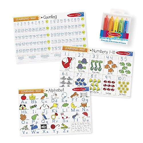 Wipe Off Crayons (Melissa & Doug Alphabet and Numbers Placemats (Set of 3 Double-Sided Mats) With 5 Wipe-Off Crayons)