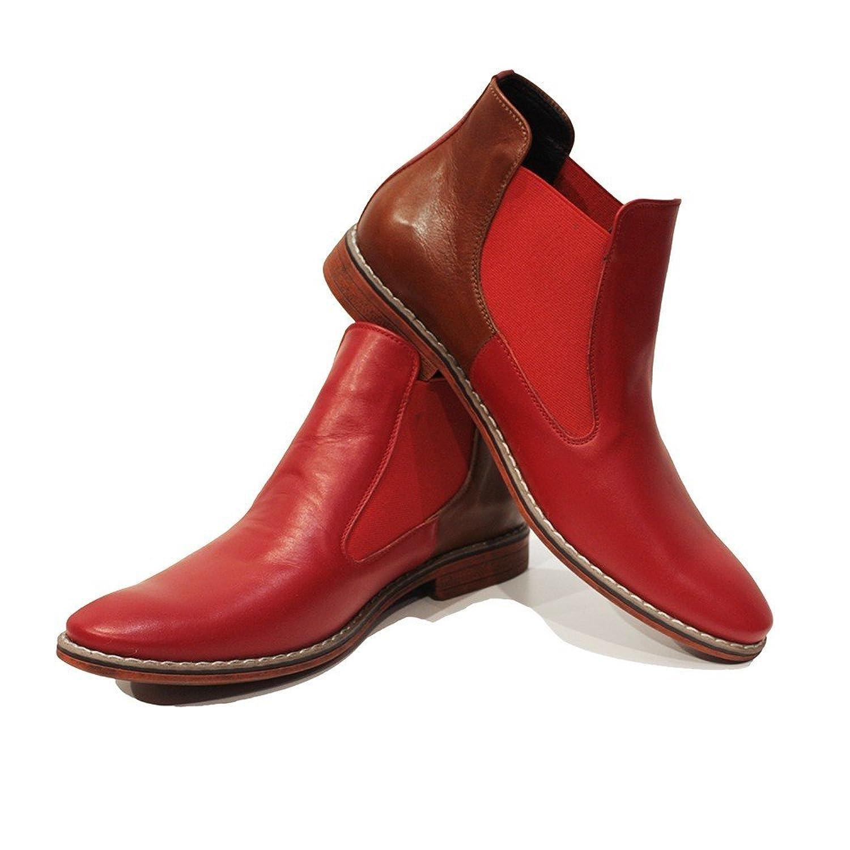 Modello Radoso - Handmade Italiennes Cuir Pour Des Hommes Rouge Bottes Chelsea Bottines - Cuir de vachette Cuir souple - Glisser sur good