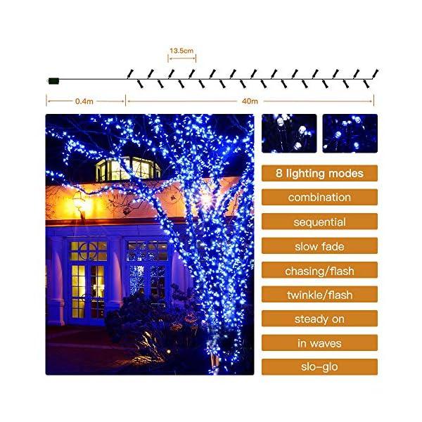 Elegear 40M 300LEDs Luci Natale Esterno IP44 Impermeabile Luci Natale Batteria con 8 Modalità Illuminazione, Decorazione per Natale, Giardino, Patio, Albero di Natale - Blu Bianco 3 spesavip