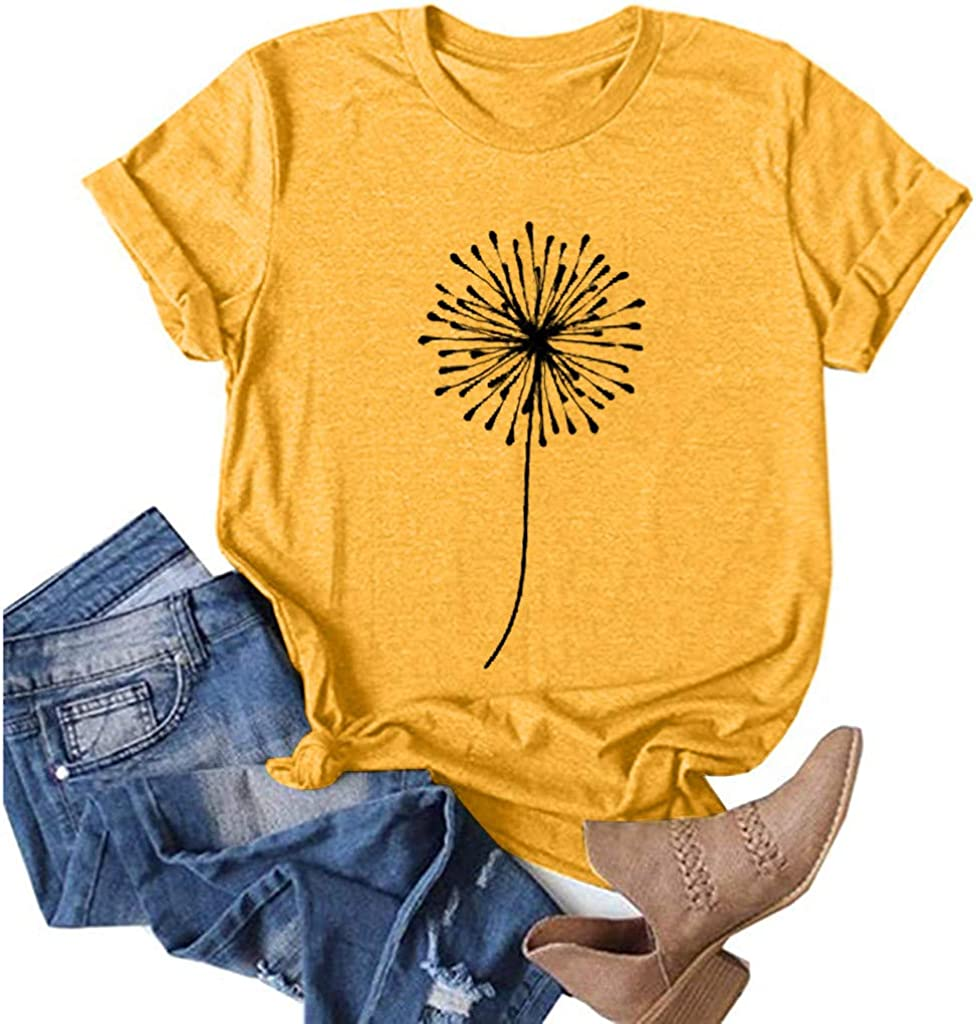 Wenfanal Womens Sunflower Print T Shirts Short Sleeve Plus Size Wildflower Summer Funny Graphic Tee Tops Blouses T-Shirt
