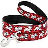 Buckle Down Pet Leash - Dalmatians Running/Paws Reds/White/Black - 6 Feet Long - 1'' Wide